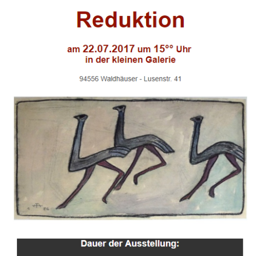 """Vernissage """"Reduktion"""" in Waldhäuser"""