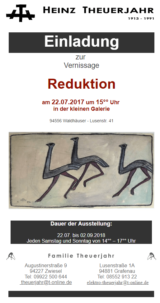 "Vernissage ""Reduktion"" in Waldhäuser"