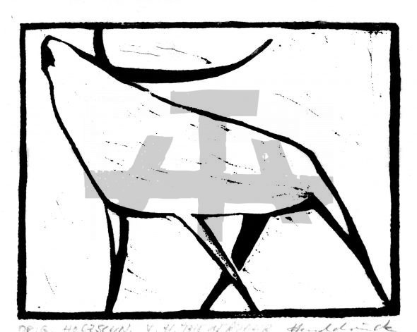 Holzschnitt Röhrender Hirsch