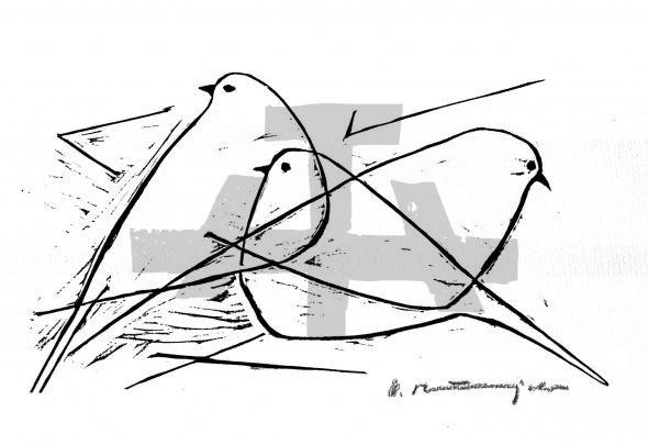 Holzschnitt Drei Vögel