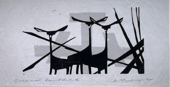 Holzschnitt Drei Gerenuks