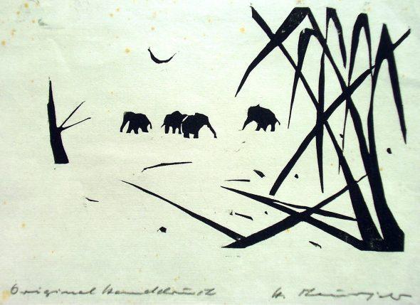 Holzschnitt Elefanten im Busch