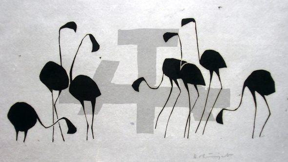 Holzschnitt Flamingos