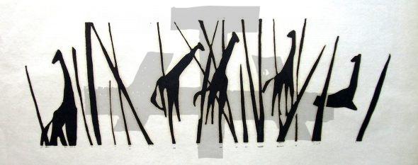 Holzschnitt Fünf Giraffen