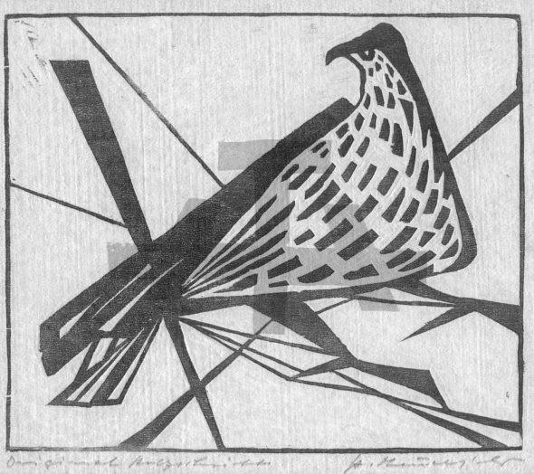 Holzschnitt Hockender Falke