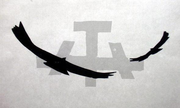 Holzschnitt Kreisende Adler