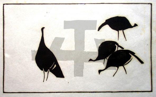 Holzschnitt Truthühner