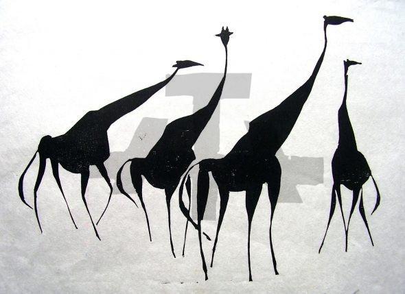 Holzschnitt Vier Giraffen
