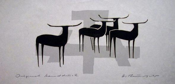 Holzschnitt Vier Hirsche