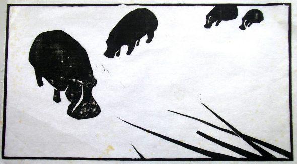 Holzschnitt Vier Nilpferde