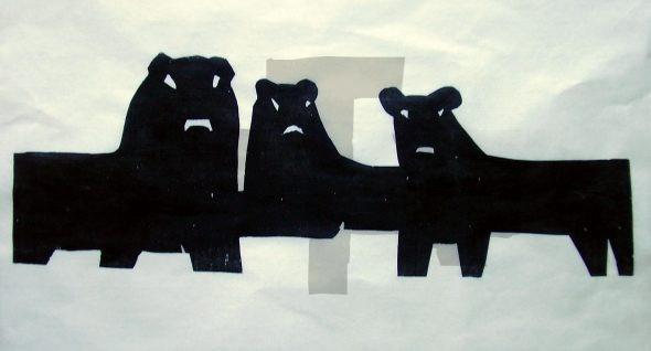 Holzschnitt Witternde Löwen
