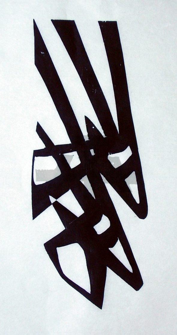 Holzschnitt Zwei Antilopenköpfe