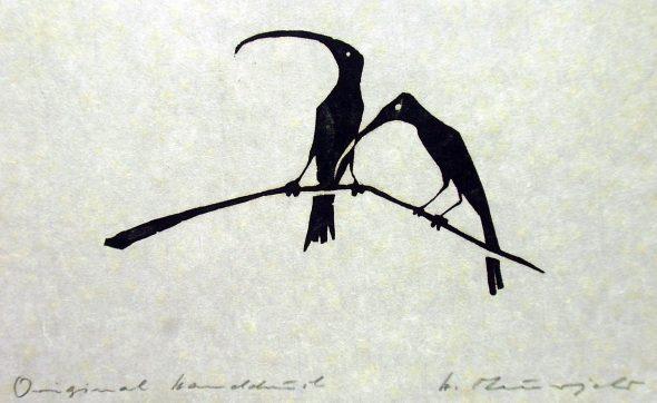 Holzschnitt Zwei Vögel