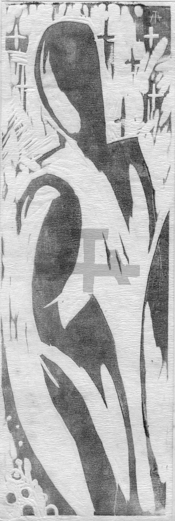 Holzschnitt Zwei Menschen
