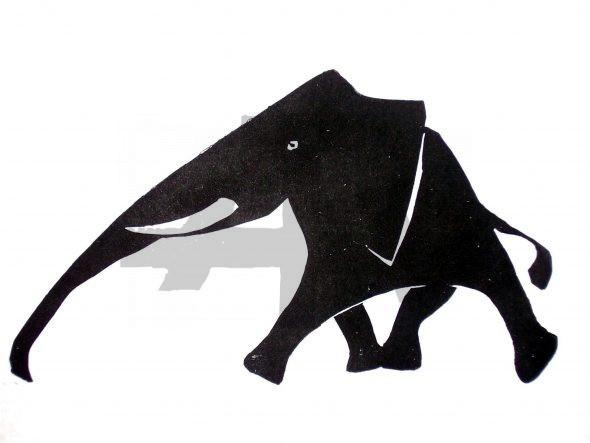 Holzschnitt Laufender Elefant