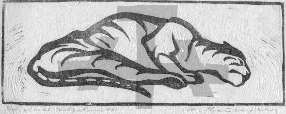 Holzschnitt Schlafender Tiger